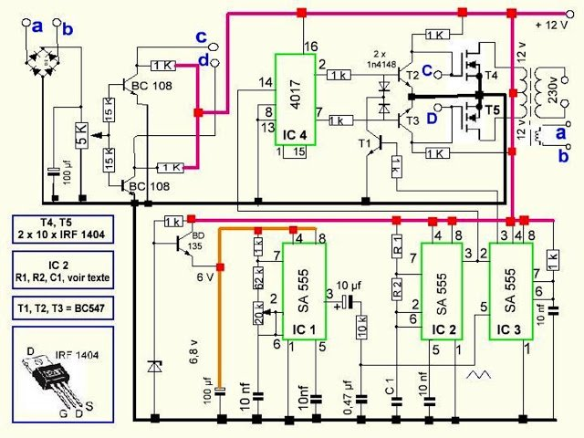 500va pure sine wave inverter circuit, Circuit diagram