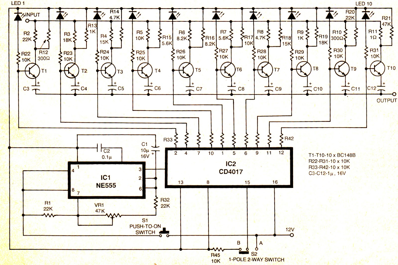 Digital Volume Controller Circuit Ic 4017 Circuits And Projects 16 You May Also Like