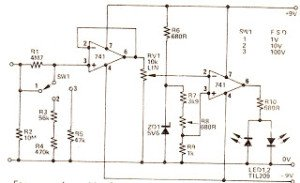 Simple LED Voltmeter Circuit