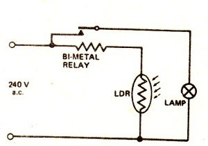 Automatic Day/Night Switch Circuit using Bi-Metal Strip and LDR