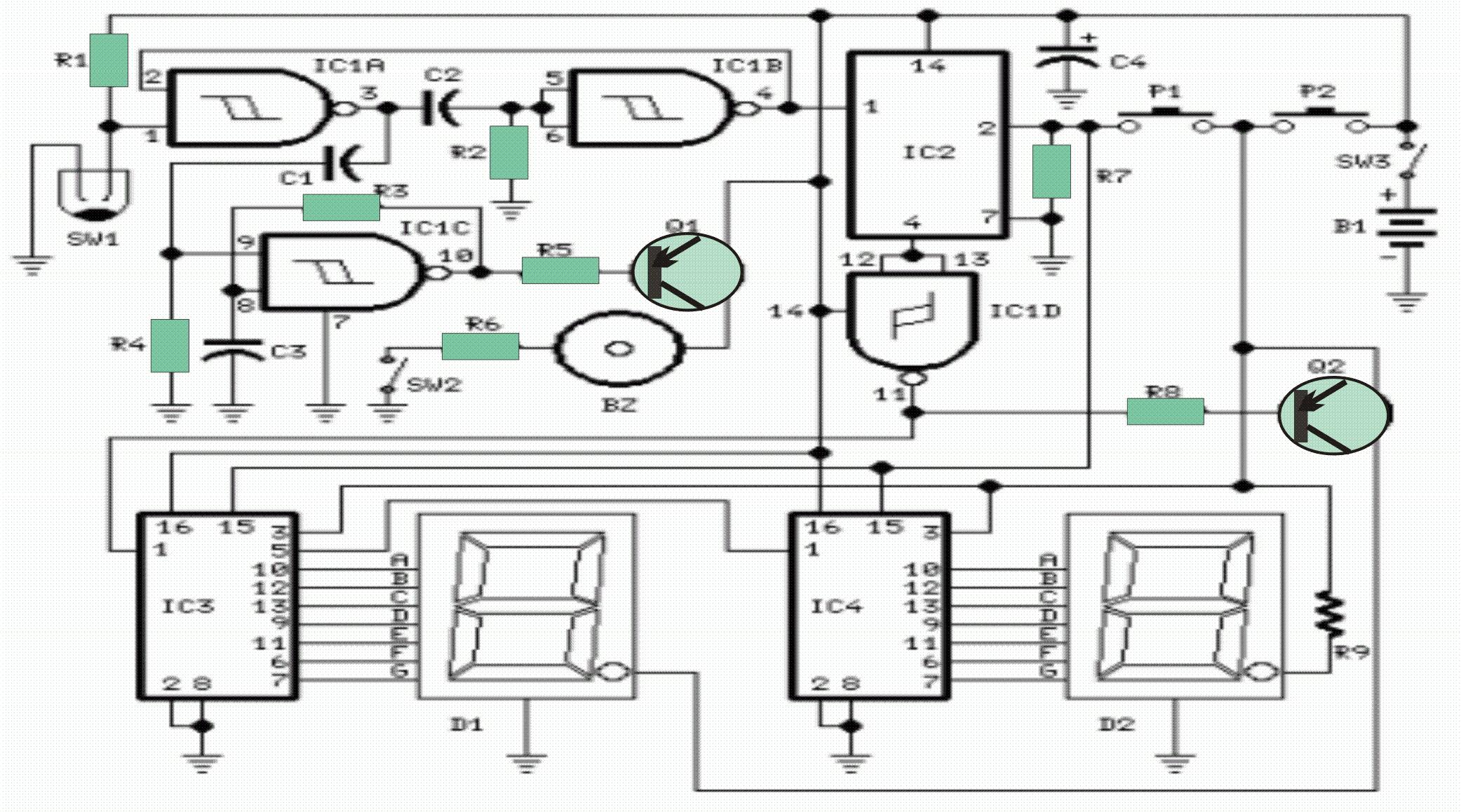 walking distance counter circuit