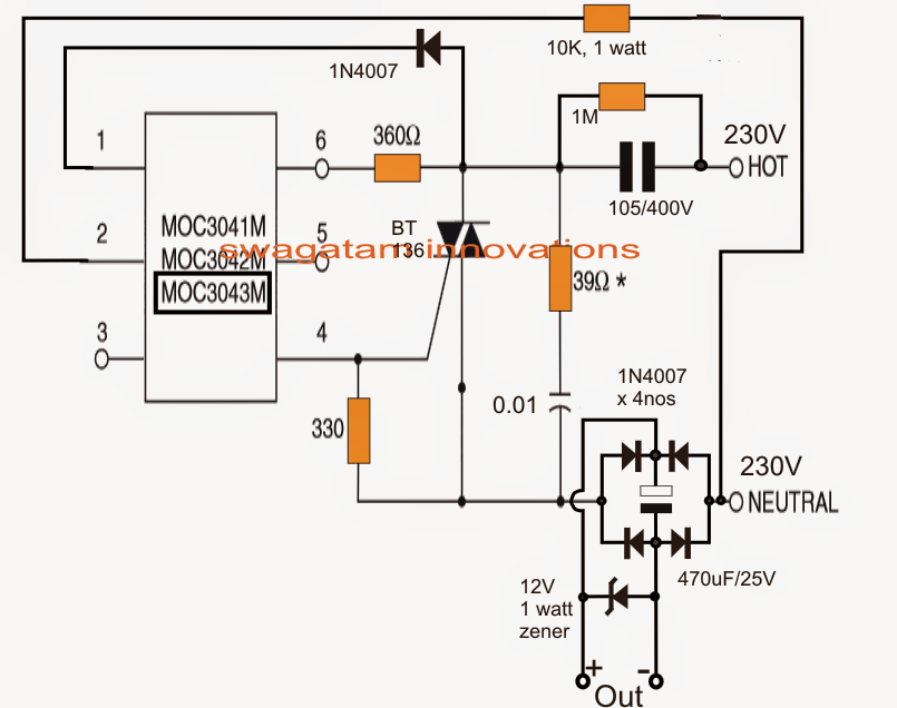surge free transformerless power supply circuit using zero crossing detection