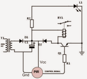 Motion Activated PIR Relay Circuit