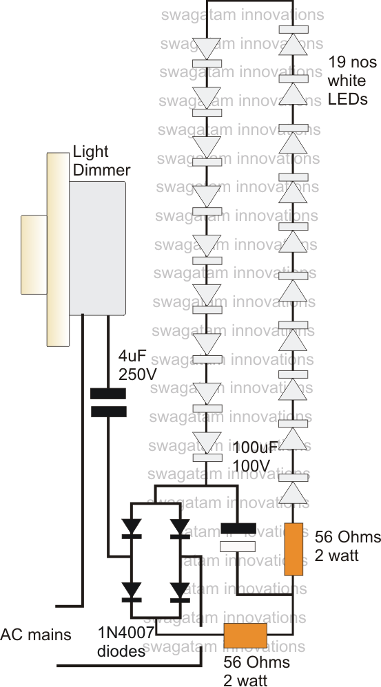 how to make a high current transformerless power supply using dimmer switch