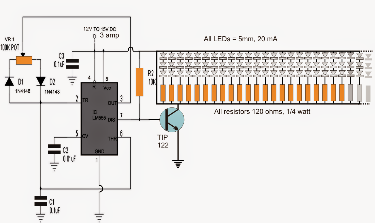 How To Build A 150 Led Pwm Tubelight Circuit Lm555 Electronics Schematic Diagram Controlling Circuits For The Figure Demonstrates Based Intensity Controller Implementing Ic 555 Are Widely Employed In Nearly All