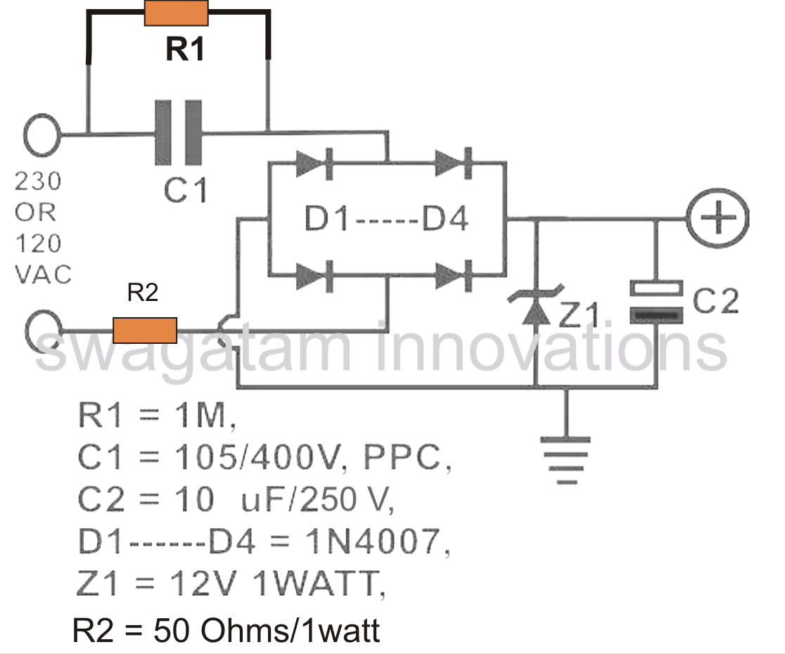 How To Calculate Capacitor Current In Transformerless Power Supplies Adjustablecurrentlimitandoutputvoltage Powersupplycircuit Talking About The Diagram A Range Of Parts Needed Are Designated With Following Particular Features C1 Is Nonopolar High Voltage