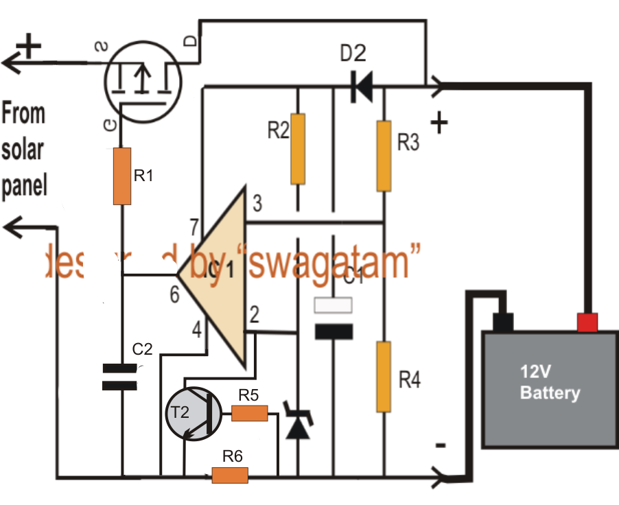solar battery charger wiring diagram for 67o solar trickle charger wiring diagram make this zero drop solar battery charger circuit