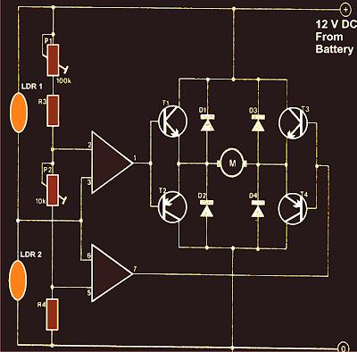 dual axis solar tracker LDR circuit