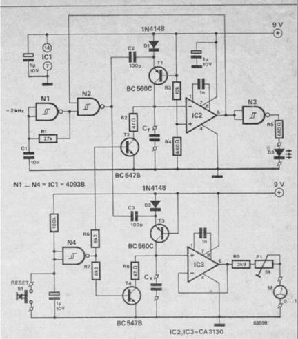 simple analogue capacitance meter circuit