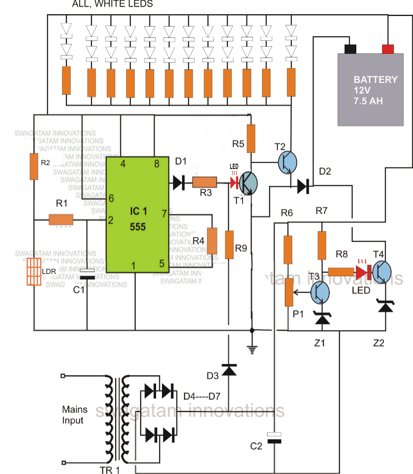 WRG-5624] 12v Battery Charger Circuit With Overcharge Protection