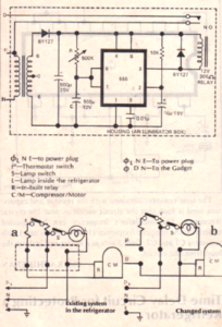 simple refrigerator protector circuit using a time delay relay during power sudden power fluctuations