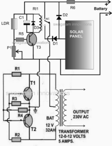 solar charger inverter school project circuit