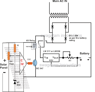 how to build a solar panel  ac mains  relay changeover circuit