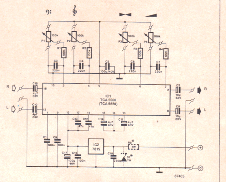 Stereo Preamplifier Circuit with Bass Treble Control