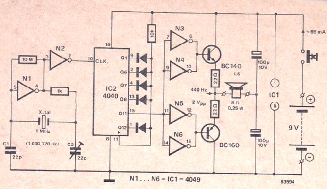 electronic tuning fork circuit