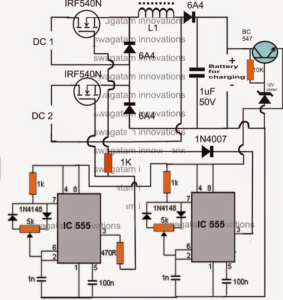 Hybrid Two Input Solar, Wind Battery Charger Circuit