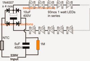 Cheap 100 Watt LED Bulb Circuit