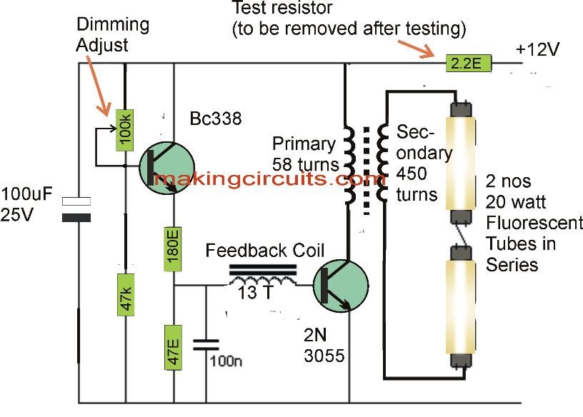 20 Watt  5 Watt Fluorescent Lamp Inverter Circuit