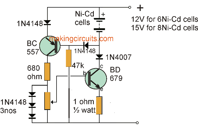 Simple NiCd Battery Charger Circuit on
