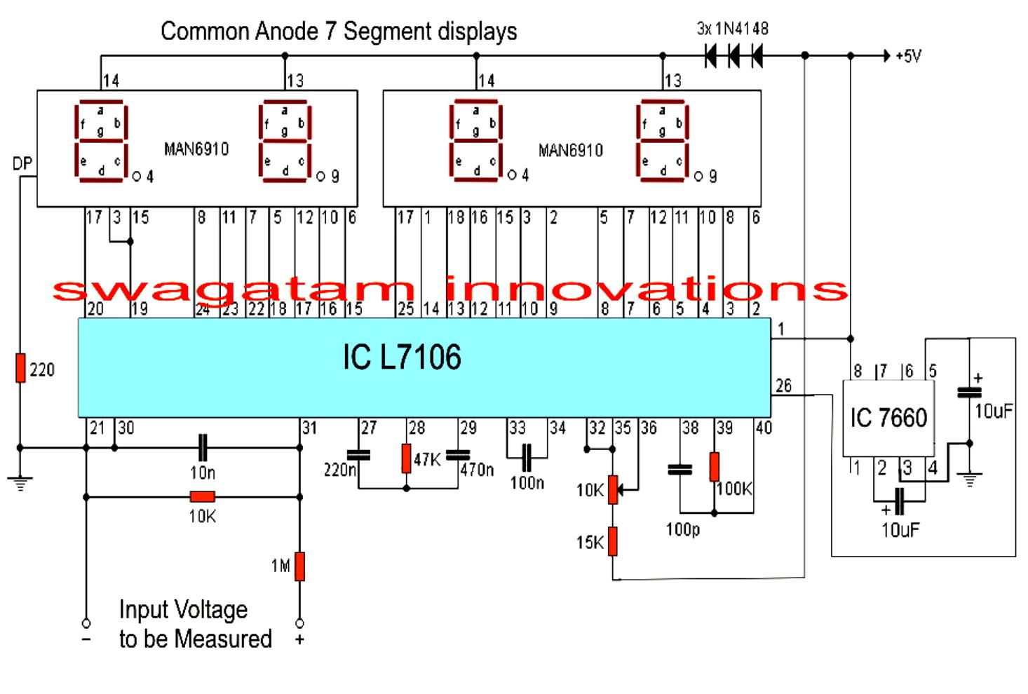Simple Digital Voltmeter Circuit