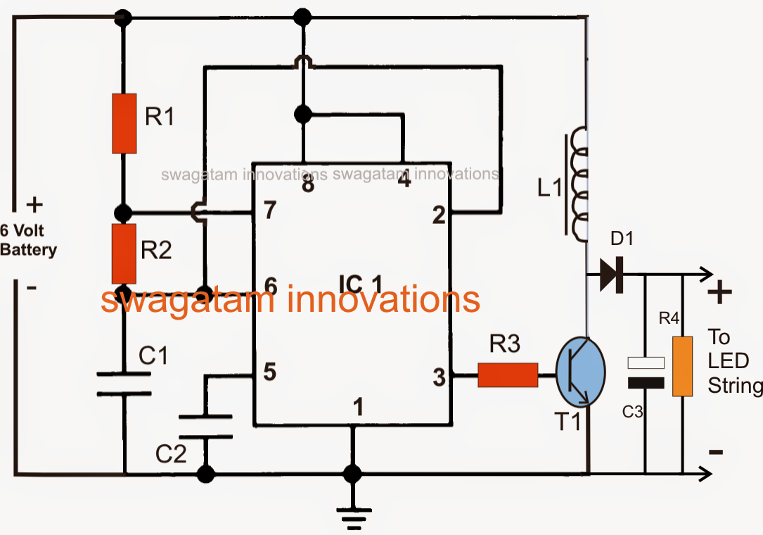 Circuit Diagram 12v To 6v Schematics Wiring Diagrams Pure Sine Wave Inverter Using Ic 555 Electronic Projects Boost Led Emergency Light Universal Reducer