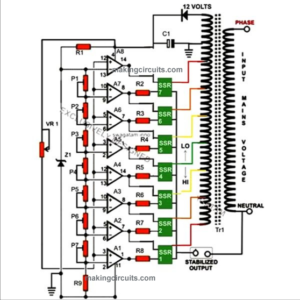 10KVA, Automatic Voltage Stabilizer Circuit Diagram Using Solid State Relays, Image