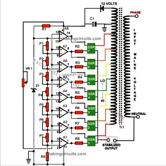 5kva voltage stabilizer circuit rh makingcircuits com circuit diagram voltage regulator using zener diode circuit diagram automatic voltage regulator