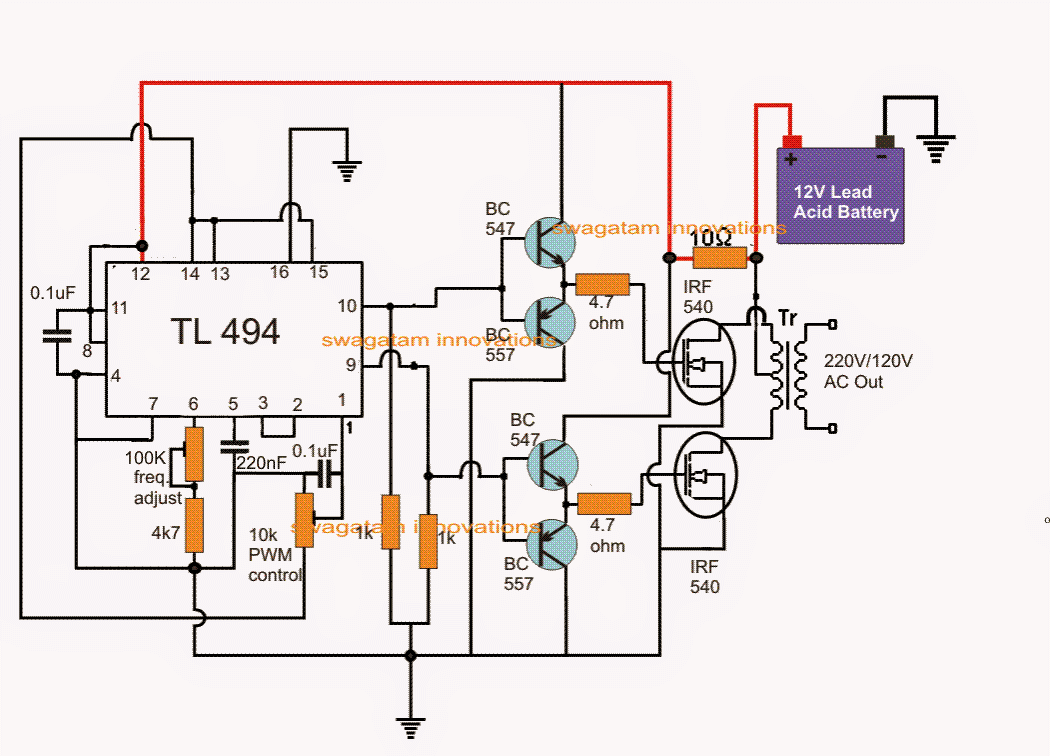IC TL494 PWM Modified Sine Wave Inverter