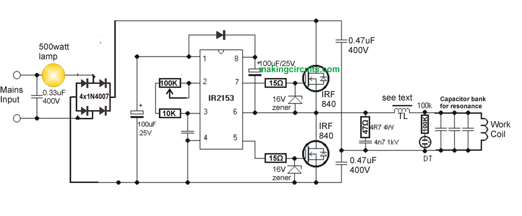 Simple Induction Heater Circuit on charger circuit schematic