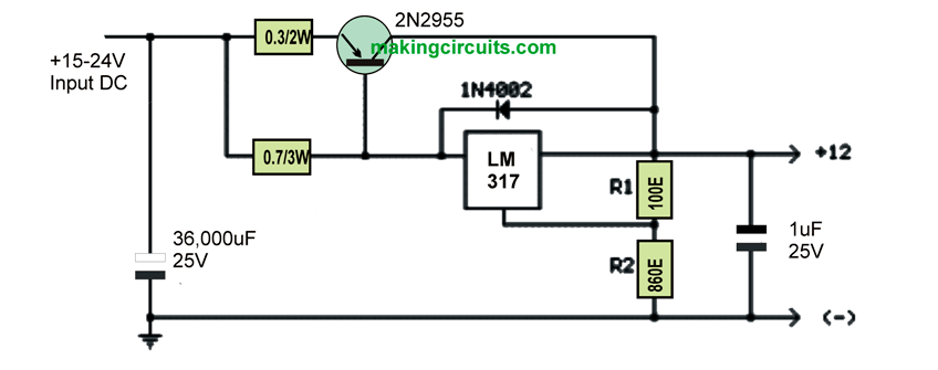 Increasing Lm317 Current With A Transistor on simple battery charger circuit