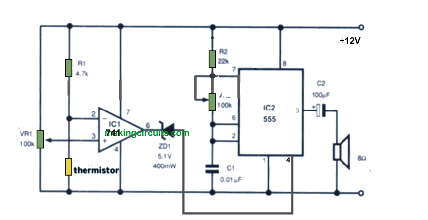 car engine over heating alarm circuit