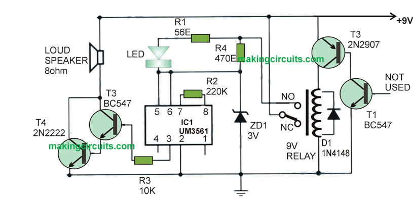 High Temperature Fire Alarm Circuit Using Transistors