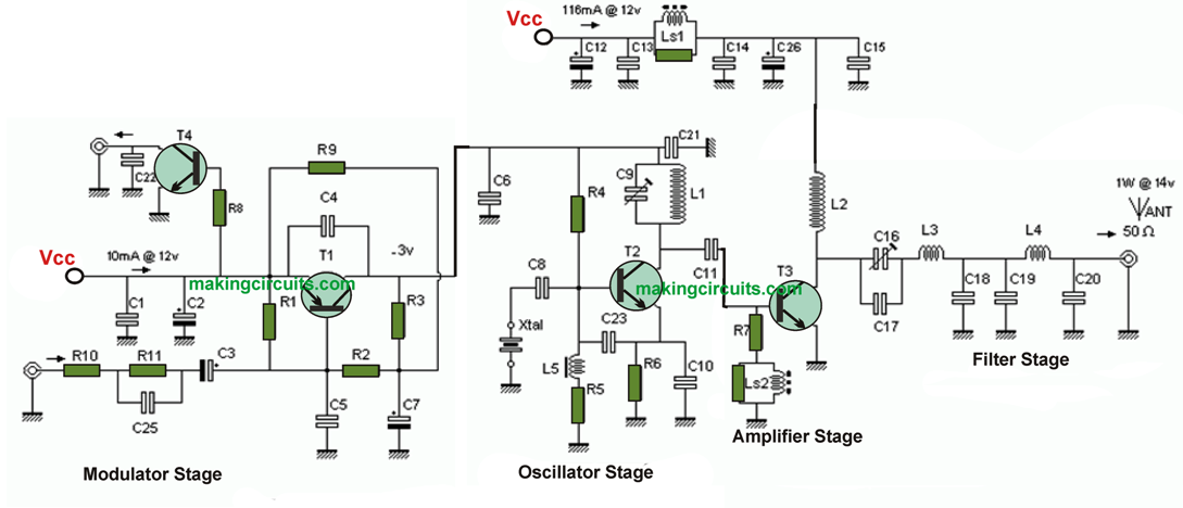 1 Watt AM/CW Transmitter Circuit