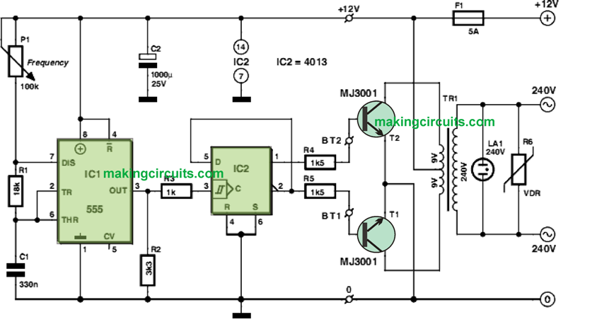 12v to 220 simple inverter circuit