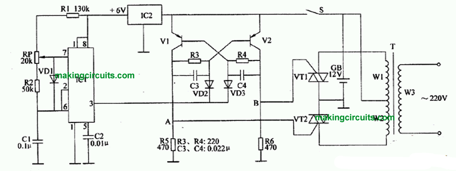 IC 555 inverter circuit using triacs