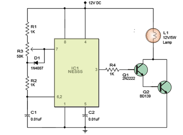 pwm lamp dimmer using IC555