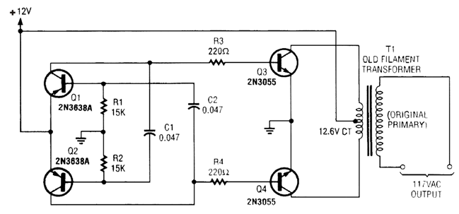 simple inverter circuit using 4 transistors