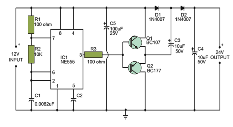 Voltage Double Circuit using NE555