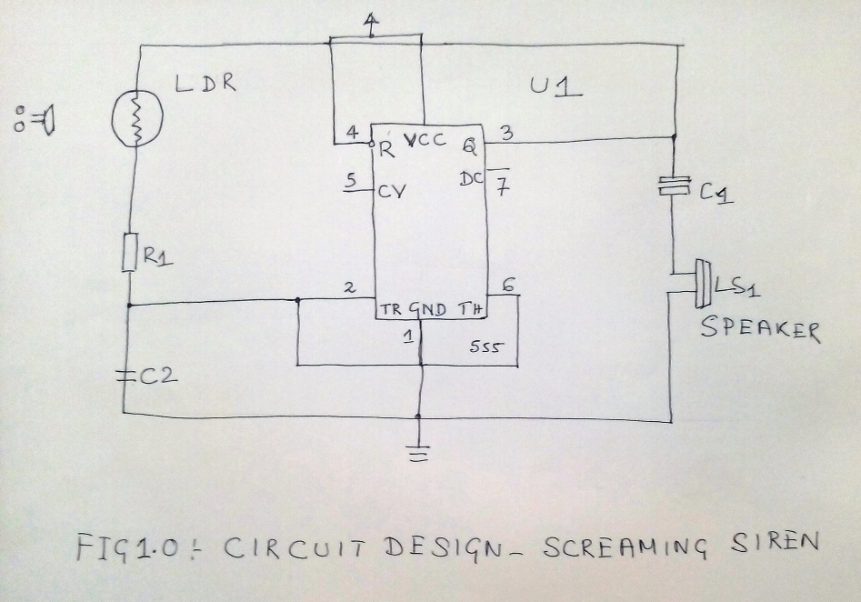 Screaming Alarm Circuit using IC 555