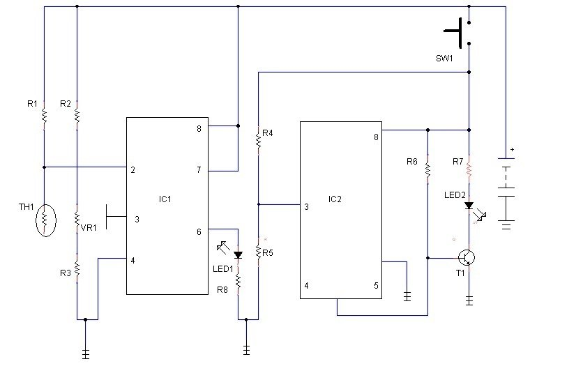 simple fridge alarm circuit