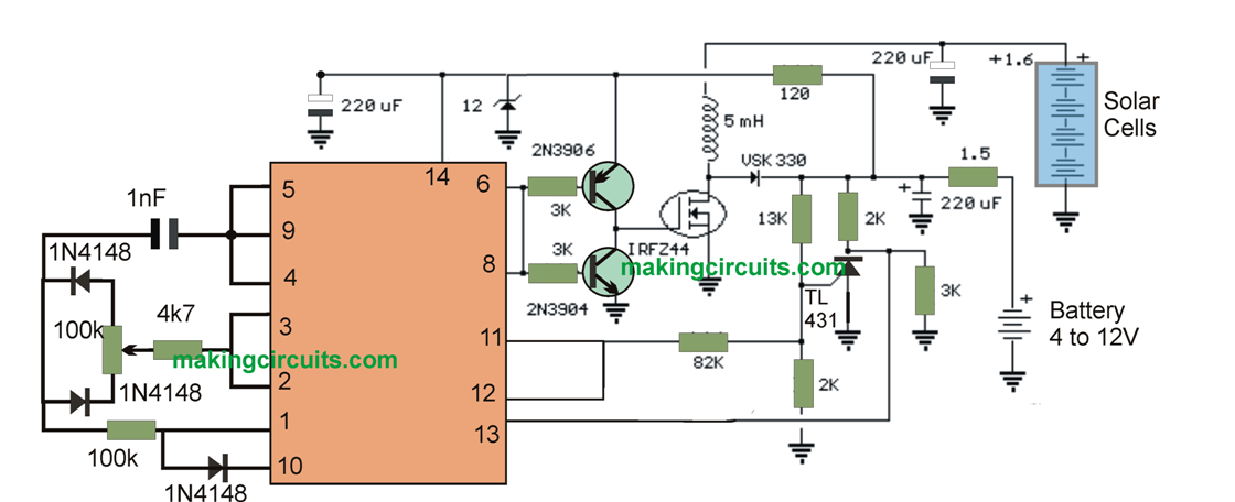 Boost Converter Circuit for Solar Cells