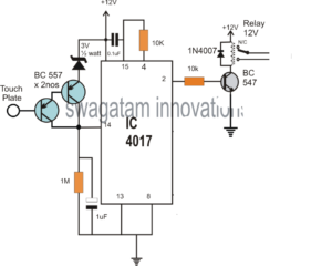 Simple Touch Switch Circuit using IC 4017