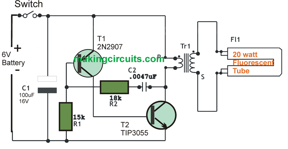 6v dc 20 watt florescent lamp driver circuit P-Channel MOS FET Switch Circuit DC AC Power Inverter Schematic