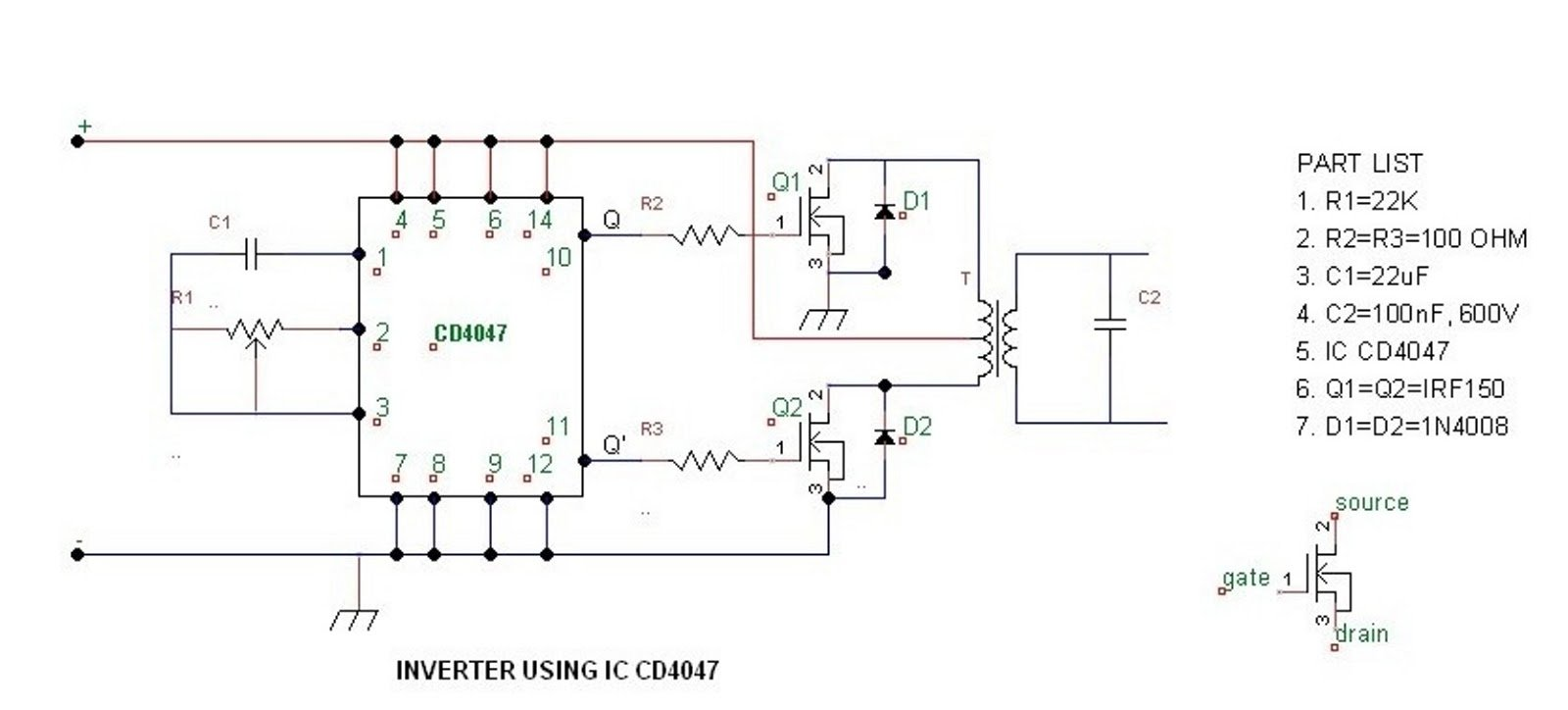 Simple 100 watt to 500 watt Inverter Circuit