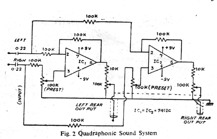Quadraphonic sound system circuit