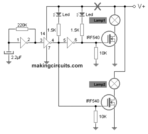 vehicle in distress lamp flasher circuit
