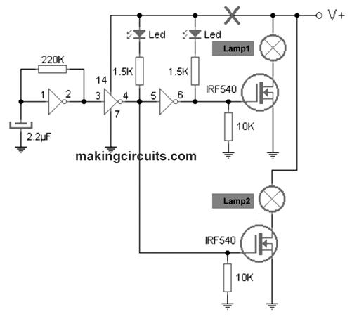 vehicle in distress lamp flasher circuit