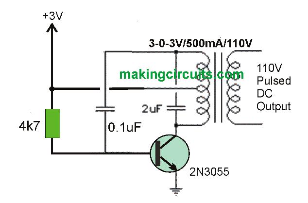 3V to 100V/220V converter circuit