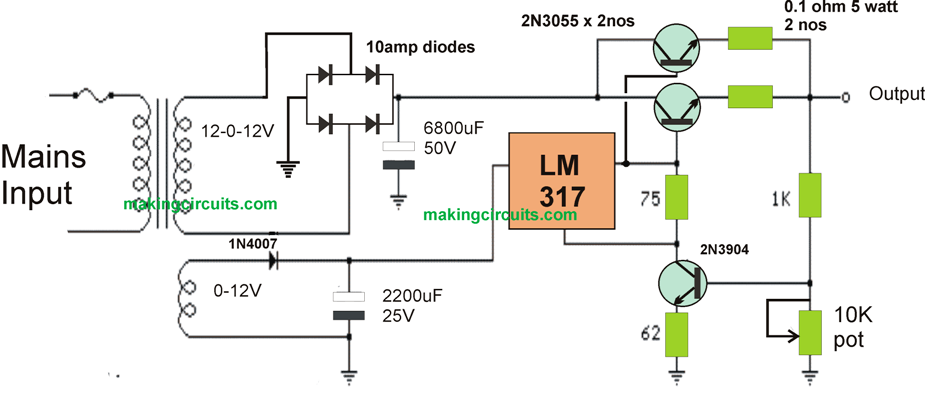 High Current Lm317 Power Supply Circuit on adjustable current and voltage power supply schematic