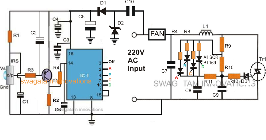 TV remote controled fan speed controller circuit